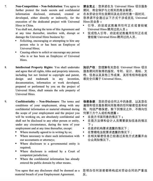 Beispiel eines Vertragsauszug Intellectual Property Right in China
